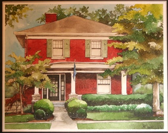 Custom Watercolor House Portrait - 8x10