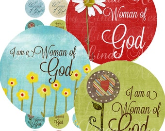 CHRISTian Woman of God (1 inch Round) Instant Download Images Digital Collage Sheet printable stickers card ephemera gift tag jewelry supply
