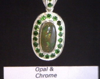 Colorful Solid Welo Opal Chrome Diopside Halo Handmade 925 Silver Dangle Pendant