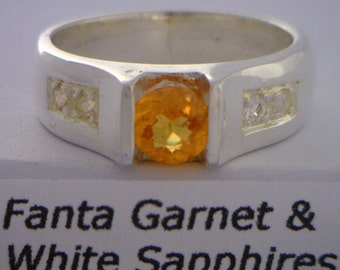 Fanta Orange Garnet White Sapphire Handmade Sterling Silver Unisex Ring size 7.5