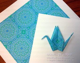 Printable Origami Paper, Digital Download, Mandala Art, Print Your Own Square, Pool Blue Art, Moroccan Tile Design, Turquoise DIY Square