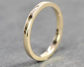 14K Yellow Gold 2x1.5mm Flat Edge Ring, Tall Stacking Band, Recycled Gold, Polished or Matte Finish, Sea Babe Jewelry