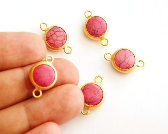 1 pc Matte 22K Gold Plated Base Pink Connector - Pink 22x12mm-(007-025GP)