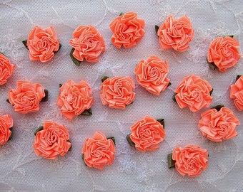 18pc Orange Sherbet Satin Ribbon Fabric Flower Applique Shabby Chic Baby Doll Carnation Cabbage Rose Bow