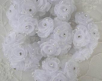 18 Chic WHITE Organza Ribbon Wired Rose Flower w rhinestone Christmas Holiday Bridal Wedding Favor Bow Hair Accessory Applique