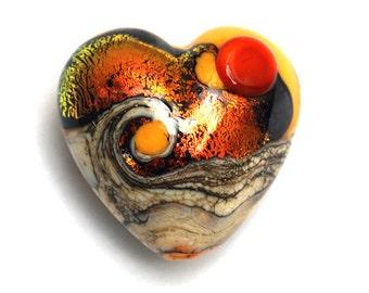 Handmade Glass Lampwork Bead - Summer Sunset Waves Heart Focal Bead 11833805
