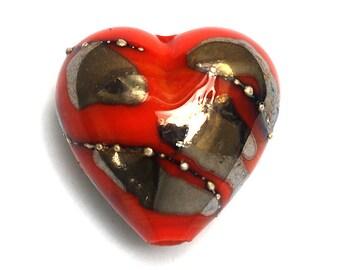 Electric Orange Metallic Heart Focal Bead - Handmade Glass Lampwork Bead 11819505