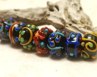 Handmade Glass Lampwork Beads - Seven Fiesta Rondelle Venetian Glass Beads 10201201