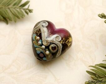 Amethyst Treasure Heart Focal Bead - Handmade Glass Lampwork Bead -11818505