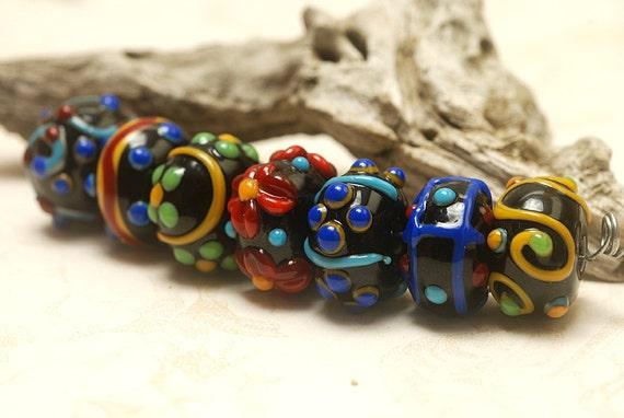 Handmade Glass Lampwork Bead Set - Seven Fiesta Rondelle Venetian Glass Beads 10201201
