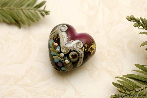 Amethyst Treasure Heart Focal Bead - Handmade Glass Lampwork Bead -11818505