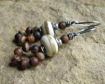Ivory Lampwork and Tibetan Agate Earrings
