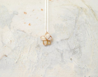 14k Gold Pendant, Forget Me Not Jewelry, White Flower Necklace, 50th Anniversary Gift