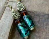 SUNBURST - Earrings, GREEN & BROWN, Brass, Wood, Cyrstal, Casual, Ear, Stack, Beaded, Simple Light Weight Earrings