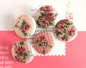 "Fabric Buttons, Retro Light Pink Cream Red Floral Flower Fabric Covered Buttons, Floral Wedding Fridge Magnets, Flat Backs, 1.1"" 5's"