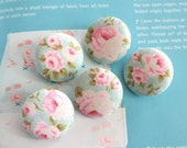 """Fabric Buttons, Retro Light Blue Pink Rose Floral Flower Tilda Fabric Covered Button, Small Floral Rose Fridge Magnets, 1.2 """" 5's"""
