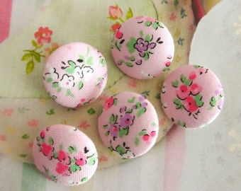 Light Pink Purple White Little Floral Flower Fabric Covered Buttons, Pink Purple Floral Fridge Magnets, Flat Backs, CHOOSE SIZE 5's