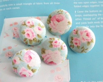 "Fabric Buttons, Retro Light Blue Pink Rose Floral Flower Tilda Fabric Covered Button, Small Floral Rose Fridge Magnets, 1.2 "" 5's"