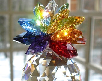 """30mm Swarovski Ball Topped with a Cluster of Swarovski Octagons in Rainbow Colors,  Suncatcher, Crystal Pineapple - """"OLIVIA GRANDE RAINBOW"""""""