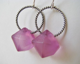 Purple Lavender Earrings , Purple Cube Earrings , Purple and Silver Earrings, Purple Earrings
