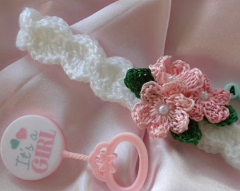 Crochet Baby Headband, Baby Girl Headband, Headband with Flowers and Pearls, Newborn Headband, Photo Prop Headband, Baby Headband