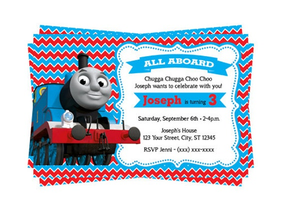 Personal Training Personalized Thomas The Train Birthday Invitations