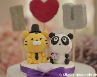 Panda and Tiger Wedding Cake Topper---k734