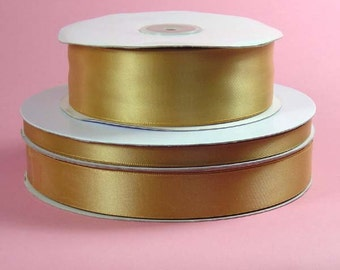 "ON SALE NOW  **1.5"" x 50 yards Double Face Satin - Old Gold"