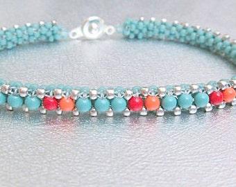 turquoise beadwork bracelet pearl beaded bracelet bead jewelry seed bead