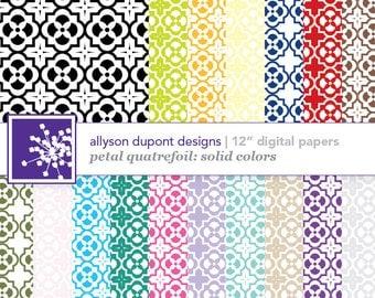 "Petal Quatrefoil Digital Paper Pack - Solids - Set of 17 12"" Printable Sheets"