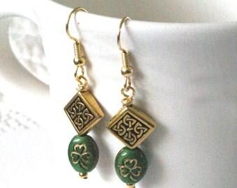 Celtic Knot Earrings, Shamrock Earrings, Green Celtic Earrings,  Clover Earrings,  Irish Jewelry, Saint Patricks Day Gift for Irish, for her