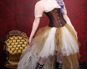 Antique Gold and Cream High Low Steampunk Bride Formal Knee length Bustle Tulle TuTu Adult All Sizes MTCoffinz