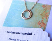 SISTER NECKLACE Sister Jewelry POEM Gold Jewelry for Sister 14kgf Circles Sister Gold Sister Necklace Gold Infinity Rings Sister in Law Gift