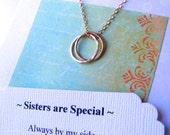POÈME de SOEUR soeur COLLIER bijoux bijoux en or pour sœur 14kgf cercles soeur or soeur Collier or infini anneaux sœur en cadeau de la Loi