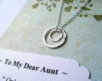 AUNT Necklace - Sterling Silver - POEM Card Gift from TWO Nieces Nephews Auntie New Aunt Jewelry from Nephew GiFT WRAPPeD Wear Everyday
