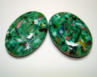 Green Resin with Shell Chips Large Oval Beads (Qty 2) - B2218