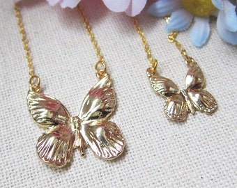 Pair of Golden Butterfly Necklace - best friend, mother daughter, sister necklace