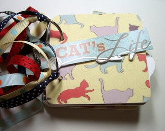 Cat Mini Album, Mini Album, Scrapbook, Memory Book, Coaster Album, Chipboard Album, Brag Book, Photo Album, Cat, Premade Album