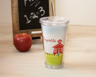Teacher Gift - Personalized Acrylic Tumbler - Mrs. Bird Teacher School House