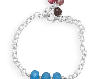 Chain and Bead Bracelet, Twist Link, Rondell Beads, Ruby Bead Accents, Made in USA, Gift, Women, Handmade Blue Quartz Rondell Bead Bracelet