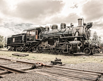 Old Steam Locomotive NO. 97, Fine Art Photograph, Signed Print, Trains, Railroad, Antique Steam Engine, Industrial and Nostalgic