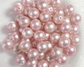 8mm Faux Blush Pearls Vintage Antique Light Pink Wedding Crafts Iridescent Japanese Reclaimed B1