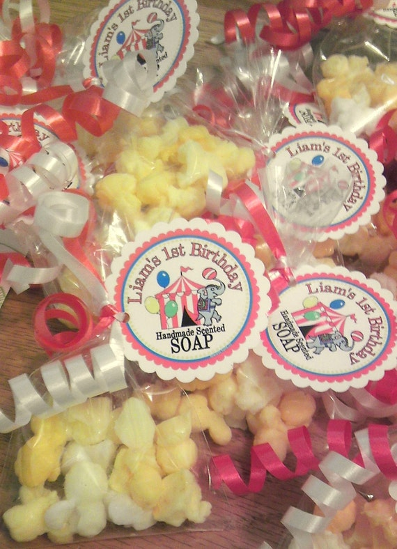 Baby shower party favors - POPCORN Soap - 50 favor bags - custom hang tag design included