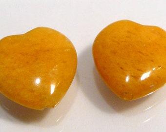 Honey Yellow Jasper Puffed Heart Gemstone Briolette Beads....2 Beads.....13x13mm