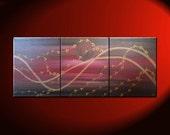 Large Cherry Blossom Painting Midnight Joyful Calming Orginal Art Black Deep Red and Gold Moon 48x20