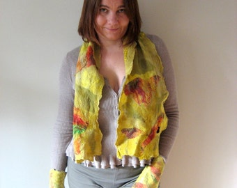 Two Pieces Set of Felted Scarf and Pair of Fingerless - Harvest