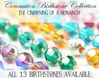 Personalized Swarovski Birthstone necklaces, Sterling silver pendants, All 12 birthstones assortment