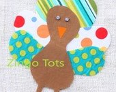 Quirky Turkey Applique - for Turkey Shirt or Turkey Onesie - DIY iron on patch - Turquoise Polka Dots #18