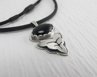 Black Onyx and silver Leaf pendant on 18 inch black rubber cord- made to order