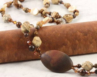 Rustic Brown Necklace Picture Jasper Gemstone Mother of Pearl Copper Crystal Long Lariat Necklace Cream Shell Jewelry Earthtone Metallic